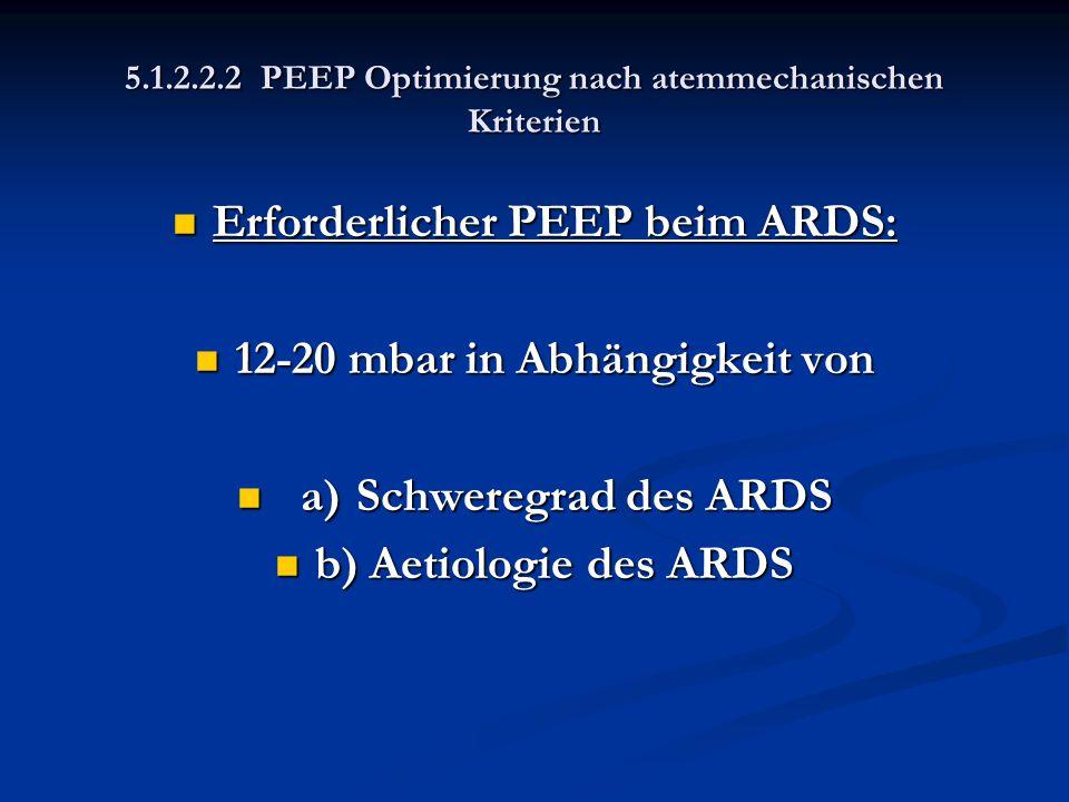 5.1.2.2.2 PEEP Optimierung nach atemmechanischen Kriterien Erforderlicher PEEP beim ARDS: Erforderlicher PEEP beim ARDS: 12-20 mbar in Abhängigkeit vo