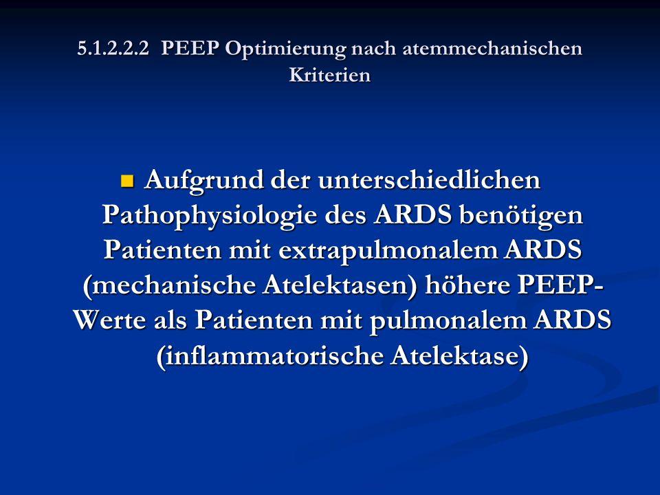 5.1.2.2.2 PEEP Optimierung nach atemmechanischen Kriterien Aufgrund der unterschiedlichen Pathophysiologie des ARDS benötigen Patienten mit extrapulmo