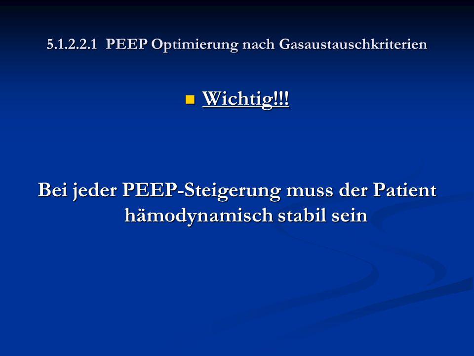 5.1.2.2.1 PEEP Optimierung nach Gasaustauschkriterien Wichtig!!! Wichtig!!! Bei jeder PEEP-Steigerung muss der Patient hämodynamisch stabil sein