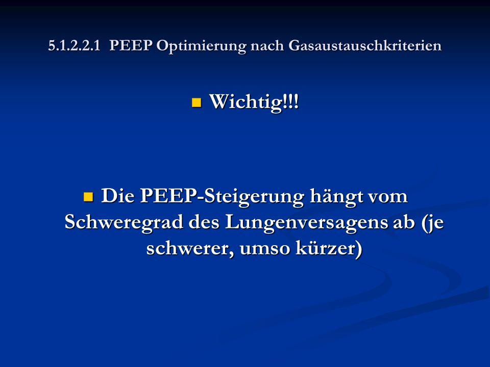 5.1.2.2.1 PEEP Optimierung nach Gasaustauschkriterien Wichtig!!! Wichtig!!! Die PEEP-Steigerung hängt vom Schweregrad des Lungenversagens ab (je schwe