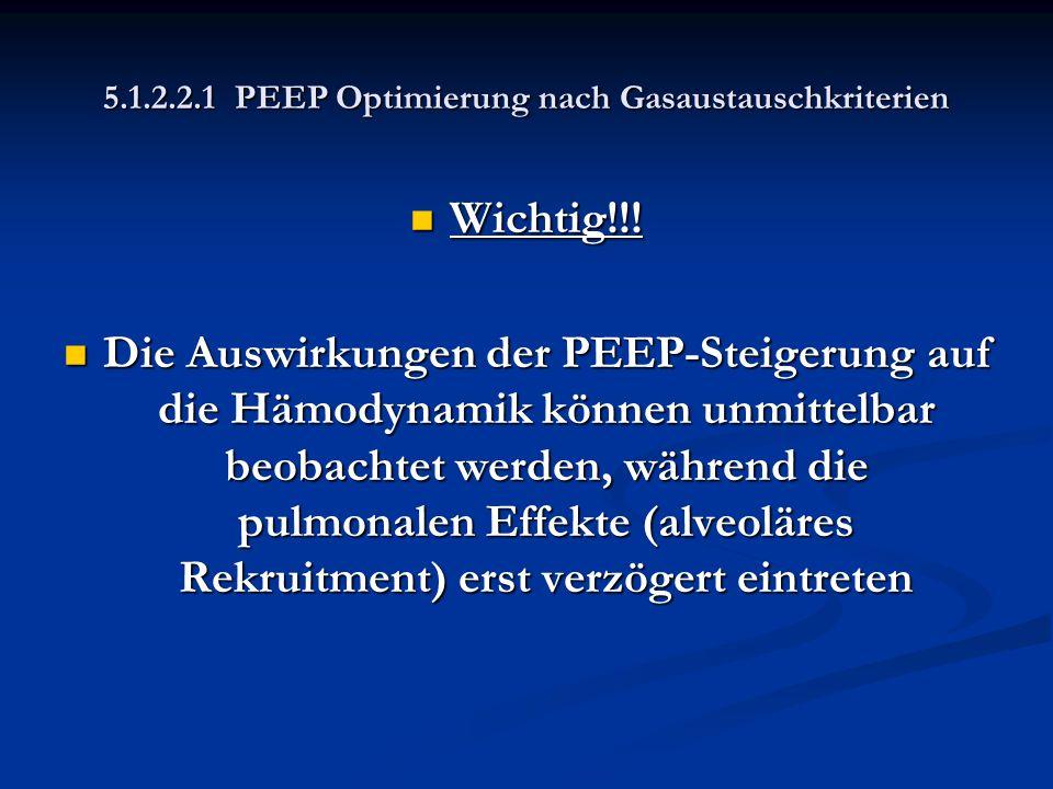 5.1.2.2.1 PEEP Optimierung nach Gasaustauschkriterien Wichtig!!! Wichtig!!! Die Auswirkungen der PEEP-Steigerung auf die Hämodynamik können unmittelba