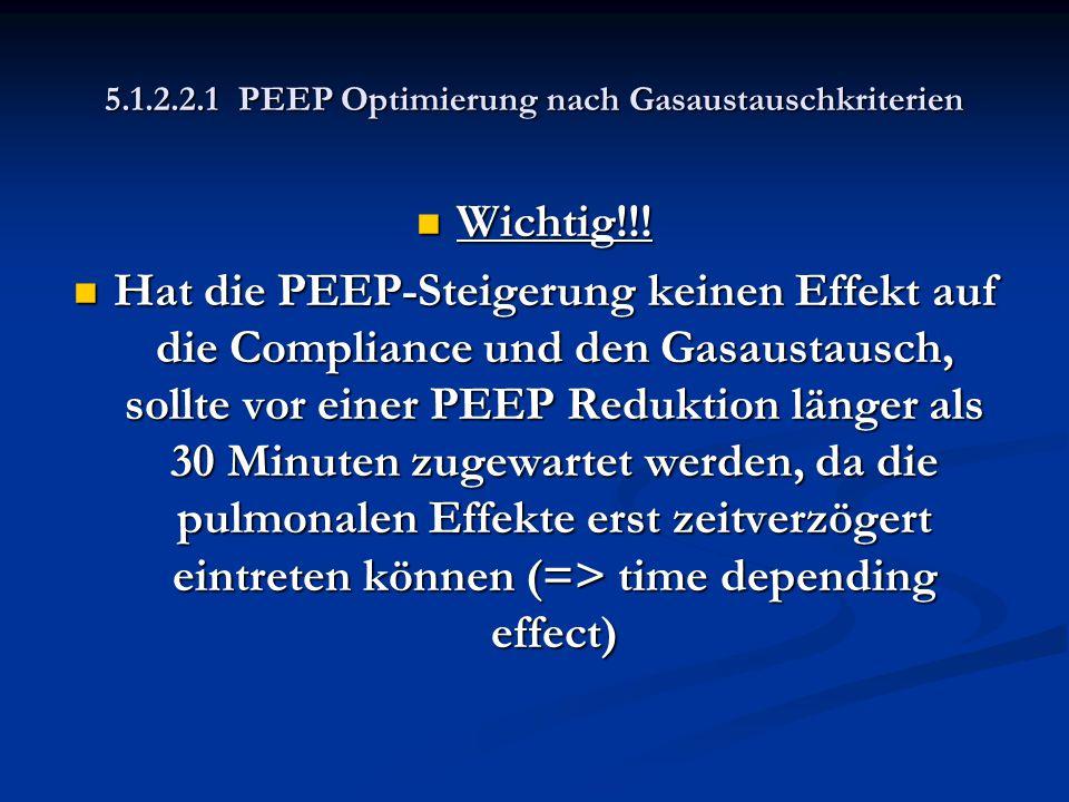 5.1.2.2.1 PEEP Optimierung nach Gasaustauschkriterien Wichtig!!! Wichtig!!! Hat die PEEP-Steigerung keinen Effekt auf die Compliance und den Gasaustau