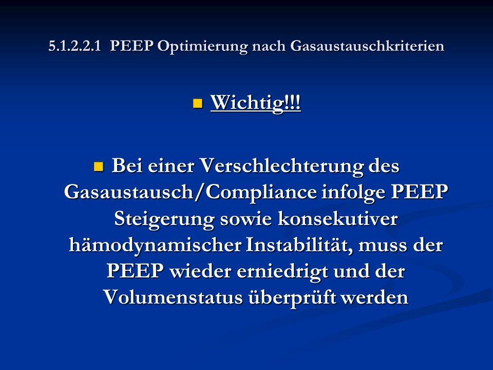5.1.2.2.1 PEEP Optimierung nach Gasaustauschkriterien Wichtig!!! Wichtig!!! Bei einer Verschlechterung des Gasaustausch/Compliance infolge PEEP Steige