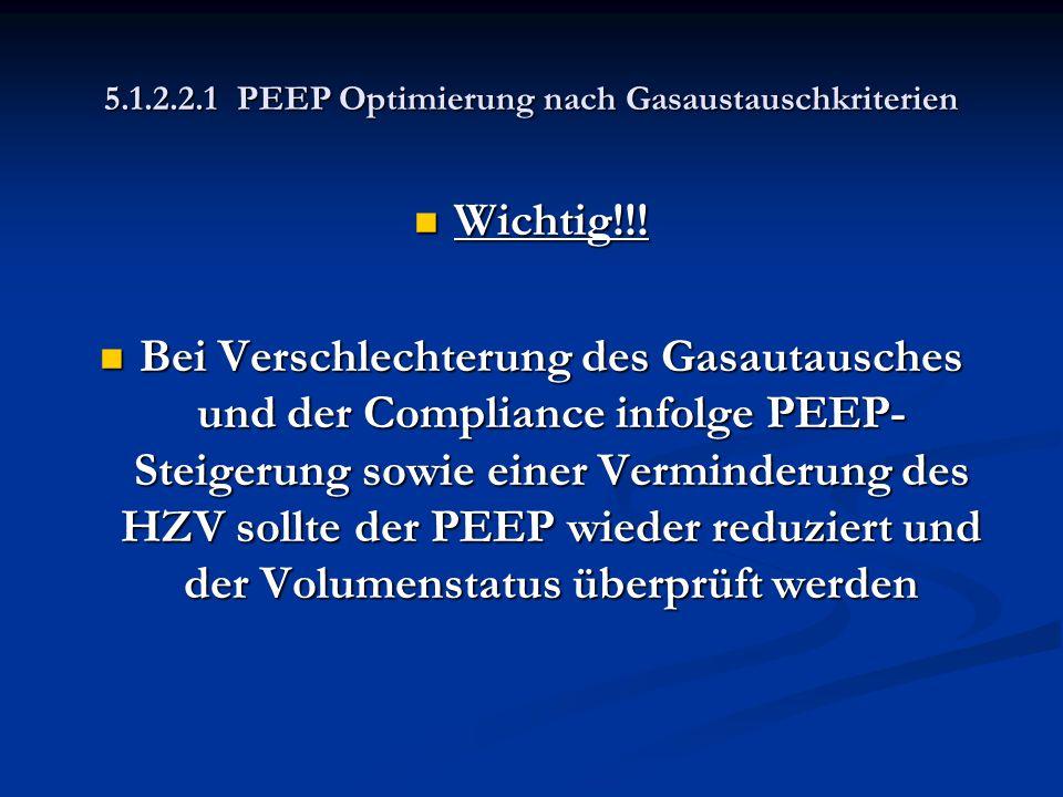 5.1.2.2.1 PEEP Optimierung nach Gasaustauschkriterien Wichtig!!! Wichtig!!! Bei Verschlechterung des Gasautausches und der Compliance infolge PEEP- St