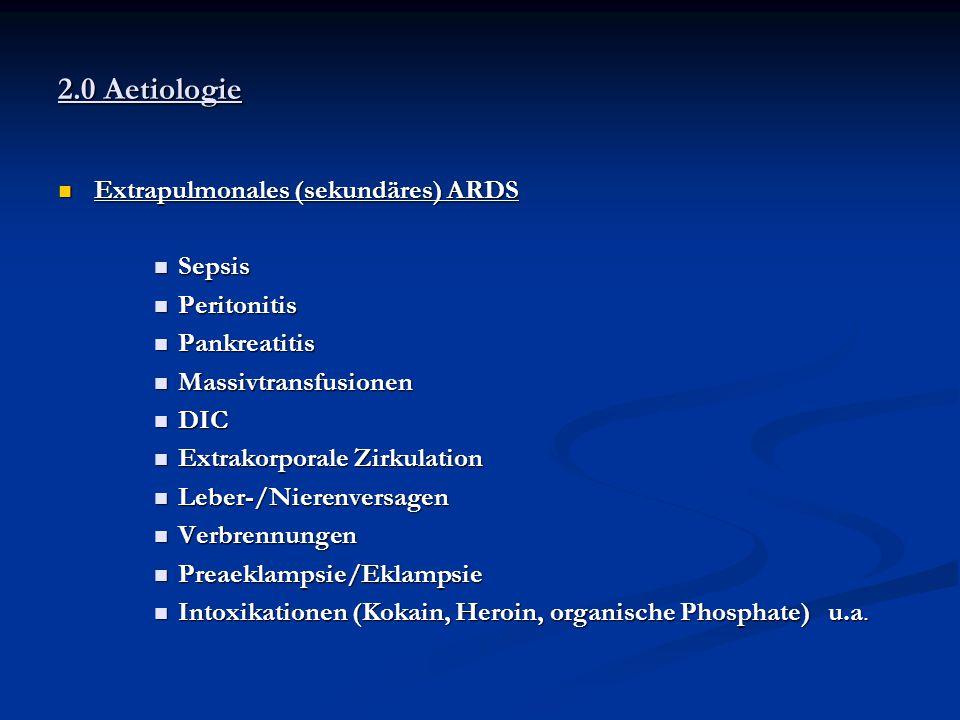 2.0 Aetiologie Extrapulmonales (sekundäres) ARDS Extrapulmonales (sekundäres) ARDS Sepsis Sepsis Peritonitis Peritonitis Pankreatitis Pankreatitis Mas