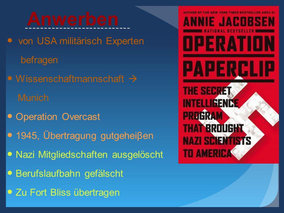 Anwerben von USA militärisch Experten befragen Wissenschaftmannschaft  Munich Operation Overcast 1945, Übertragung gutgeheiβen Nazi Mitgliedschaften