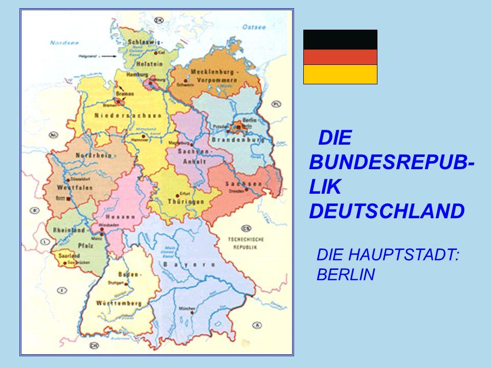 1.BREMEN- BREMEN 2.BERLIN- BERLIN 3.BRANDENBURG- POTSDAM 4.BAYERN- MUNCHEN 5.BADEN-WURTTEMBERG- STUTTGART 6.HAMBURG- HAMBURG 7.HESSEN- WIESBADEN 8.MECKLENBURG- VORPOMMERN-SCHWERIN 9.NIEDERSACHSEN- HANNOVER 10.NORDRHEIN-WESTFALEN- DUSSELDORF 11.RHEINLAND-PFALZ- MAINZ 12.SAARLAND-SAARBRUCKEN 13.SACHSEN- DRESDEN 14.SACHSEN-ANHALT- MAGDEBURG 15.SCHLESWIG-HOLSTEIN-KIEL 16.THURINGEN-ERFURT DIE BUNDESLÄNDER UND IHRE HAUPTSTÄDTE