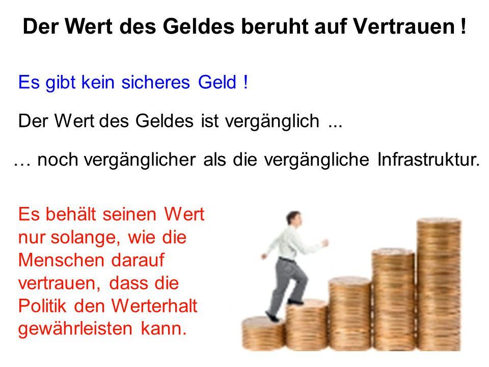 Der Wert des Geldes beruht auf Vertrauen ! Es gibt kein sicheres Geld ! Der Wert des Geldes ist vergänglich... … noch vergänglicher als die vergänglic