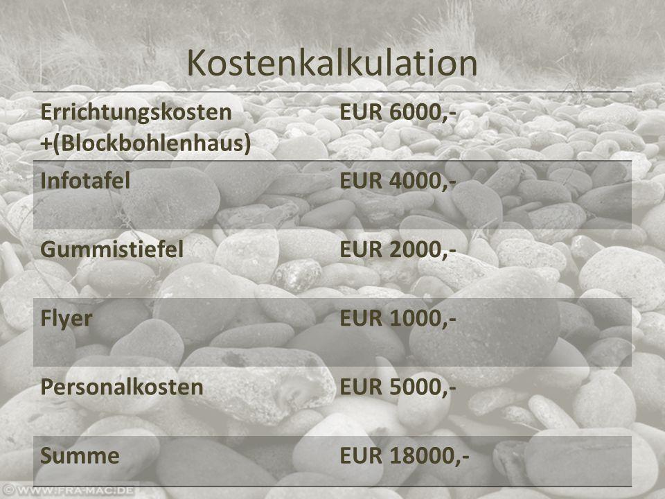 Kostenkalkulation Errichtungskosten +(Blockbohlenhaus) EUR 6000,- InfotafelEUR 4000,- GummistiefelEUR 2000,- FlyerEUR 1000,- PersonalkostenEUR 5000,- SummeEUR 18000,-