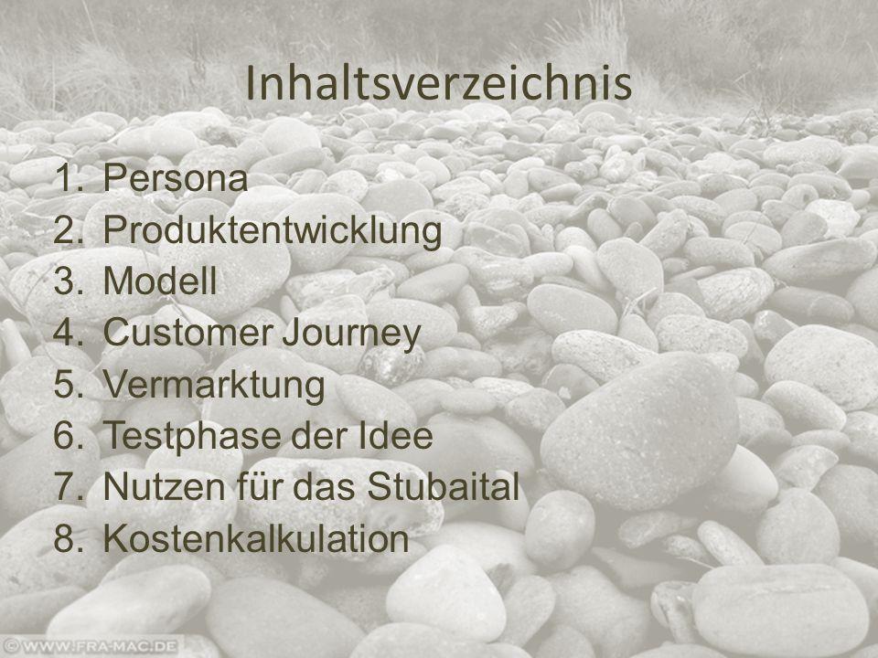 Inhaltsverzeichnis 1.Persona 2.Produktentwicklung 3.Modell 4.Customer Journey 5.Vermarktung 6.Testphase der Idee 7.Nutzen für das Stubaital 8.Kostenkalkulation