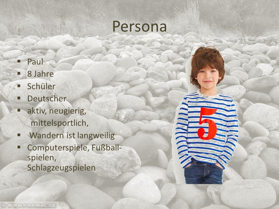 Persona  Paul  8 Jahre  Schüler  Deutscher  aktiv, neugierig, mittelsportlich,  Wandern ist langweilig  Computerspiele, Fußball- spielen, Schlagzeugspielen