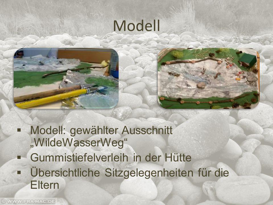 """Modell  Modell: gewählter Ausschnitt """"WildeWasserWeg  Gummistiefelverleih in der Hütte  Übersichtliche Sitzgelegenheiten für die Eltern"""