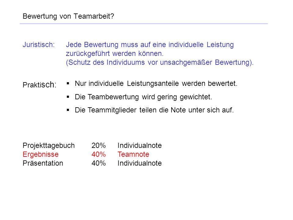 Bewertung von Teamarbeit? Juristisch:Jede Bewertung muss auf eine individuelle Leistung zurückgeführt werden können. (Schutz des Individuums vor unsac