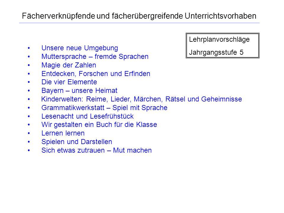 Unsere neue Umgebung Muttersprache – fremde Sprachen Magie der Zahlen Entdecken, Forschen und Erfinden Die vier Elemente Bayern – unsere Heimat Kinder