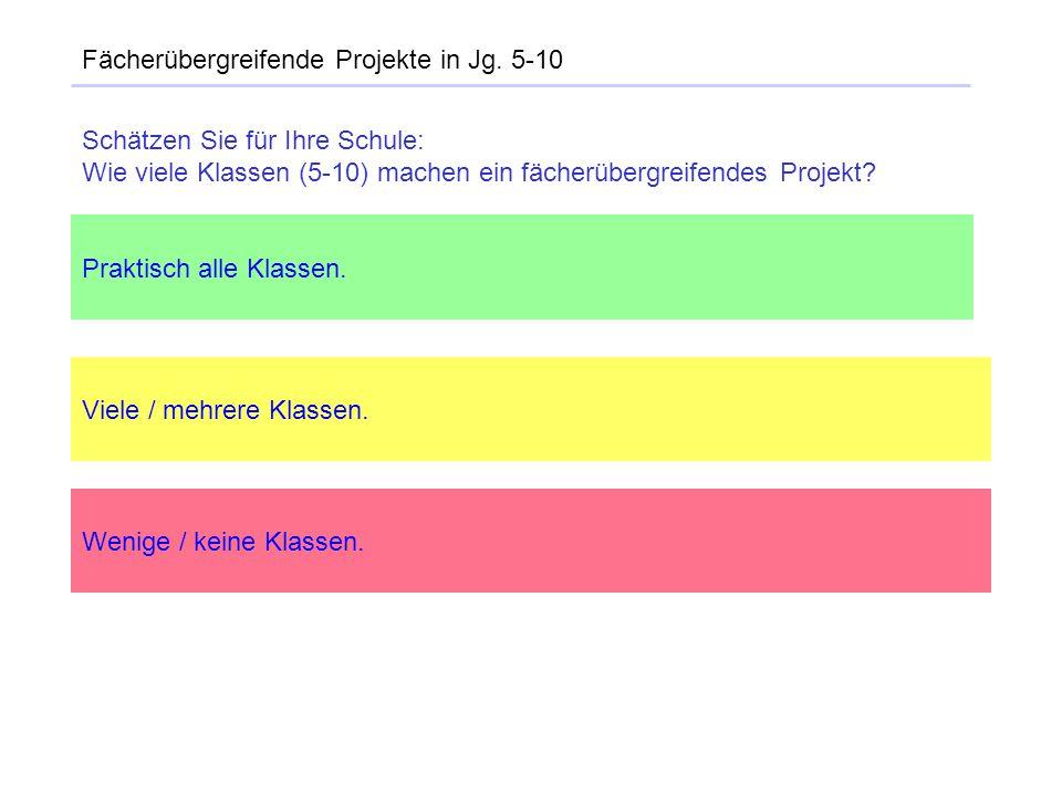 Fächerübergreifende Projekte in Jg. 5-10 Praktisch alle Klassen. Viele / mehrere Klassen. Wenige / keine Klassen. Schätzen Sie für Ihre Schule: Wie vi