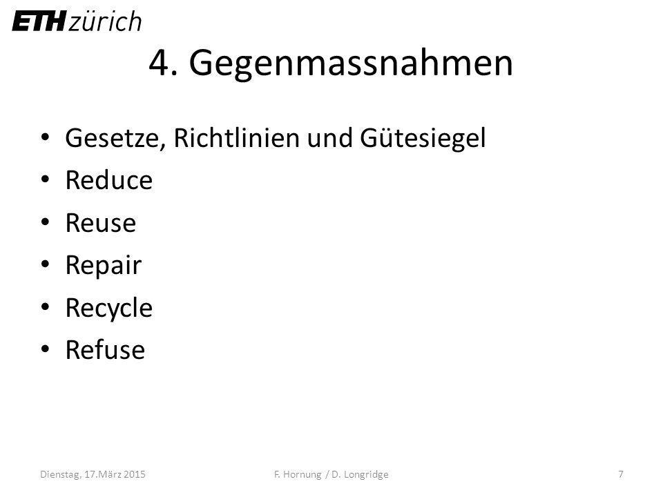 4. Gegenmassnahmen Gesetze, Richtlinien und Gütesiegel Reduce Reuse Repair Recycle Refuse Dienstag, 17.März 2015F. Hornung / D. Longridge7