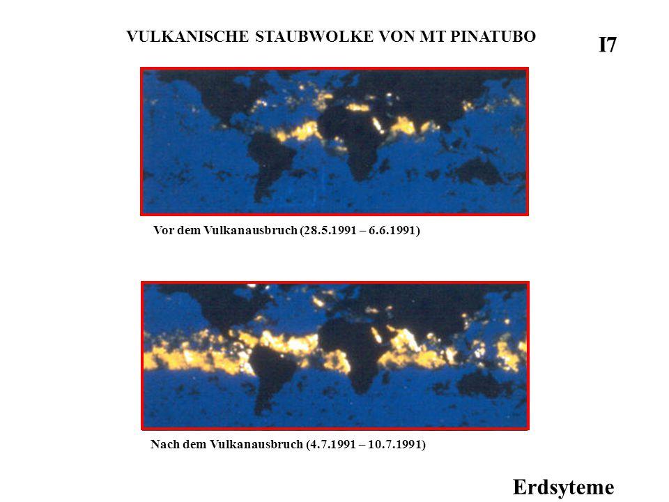 Erdsyteme VULKANISCHE STAUBWOLKE VON MT PINATUBO Vor dem Vulkanausbruch (28.5.1991 – 6.6.1991) Nach dem Vulkanausbruch (4.7.1991 – 10.7.1991) I7