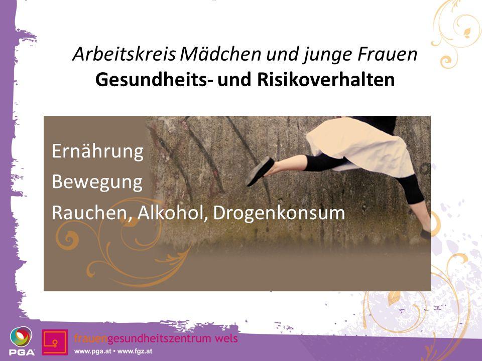 Arbeitskreis Mädchen und junge Frauen Gesundheits- und Risikoverhalten Ernährung Bewegung Rauchen, Alkohol, Drogenkonsum