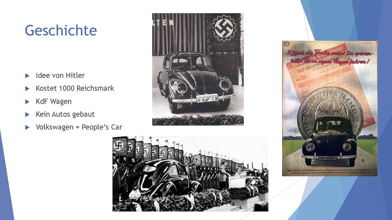 Geschichte  Idee von Hitler  Kostet 1000 Reichsmark  KdF Wagen  Kein Autos gebaut  Volkswagen = People's Car