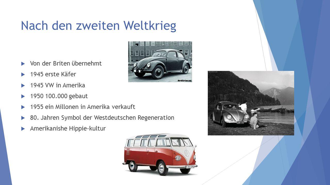 Nach den zweiten Weltkrieg  Von der Briten ϋbernehmt  1945 erste Käfer  1945 VW in Amerika  1950 100.000 gebaut  1955 ein Millonen in Amerika ver