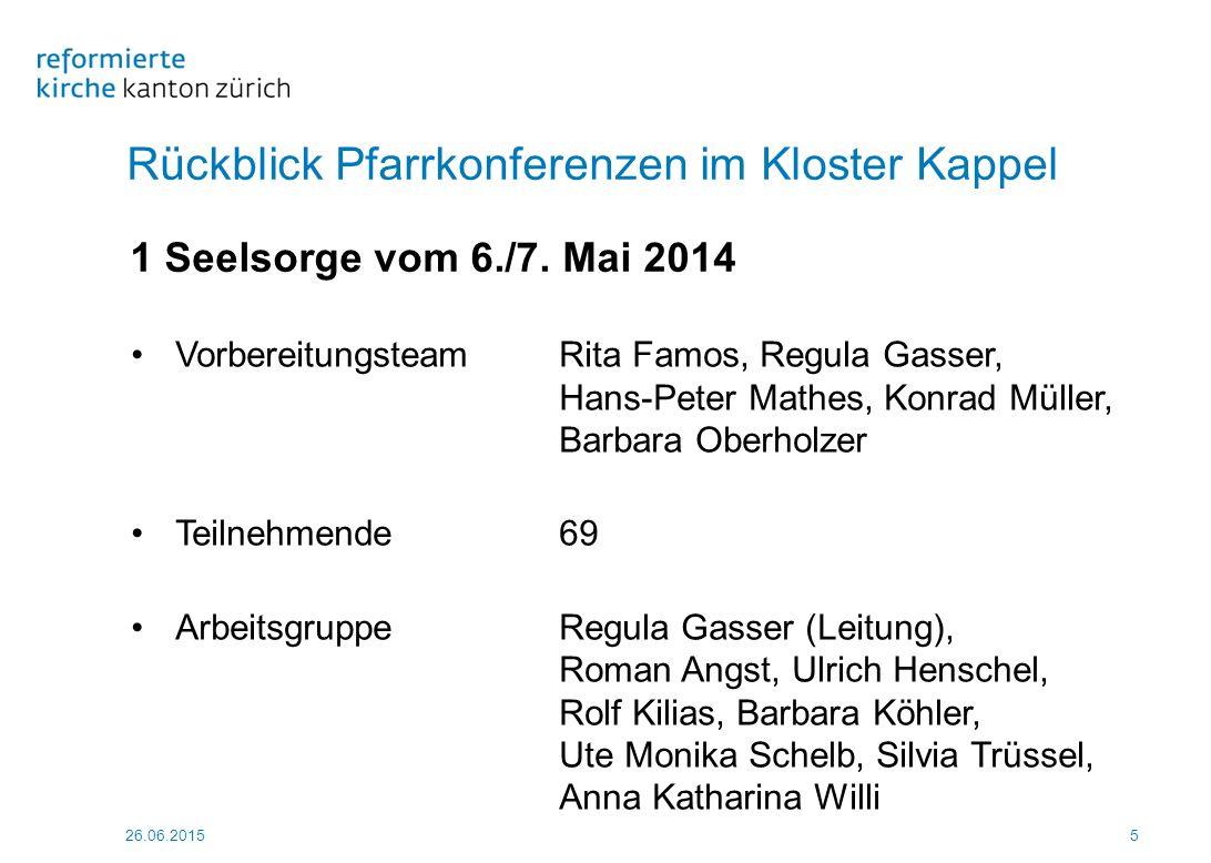 26.06.2015 66 Rückblick Pfarrkonferenzen im Kloster Kappel 5 Gemeindeleitung vom 18./19.
