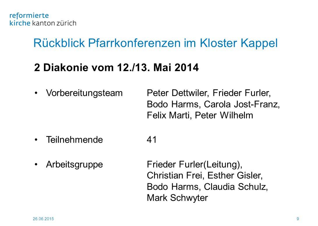 26.06.2015 50 Rückblick Pfarrkonferenzen im Kloster Kappel 4 Team, Teilzeit, Pfarrhaus vom 3./4.