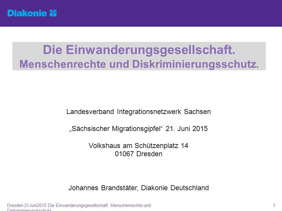 """Die Einwanderungsgesellschaft. Menschenrechte und Diskriminierungsschutz. Landesverband Integrationsnetzwerk Sachsen """"Sächsischer Migrationsgipfel"""" 21"""