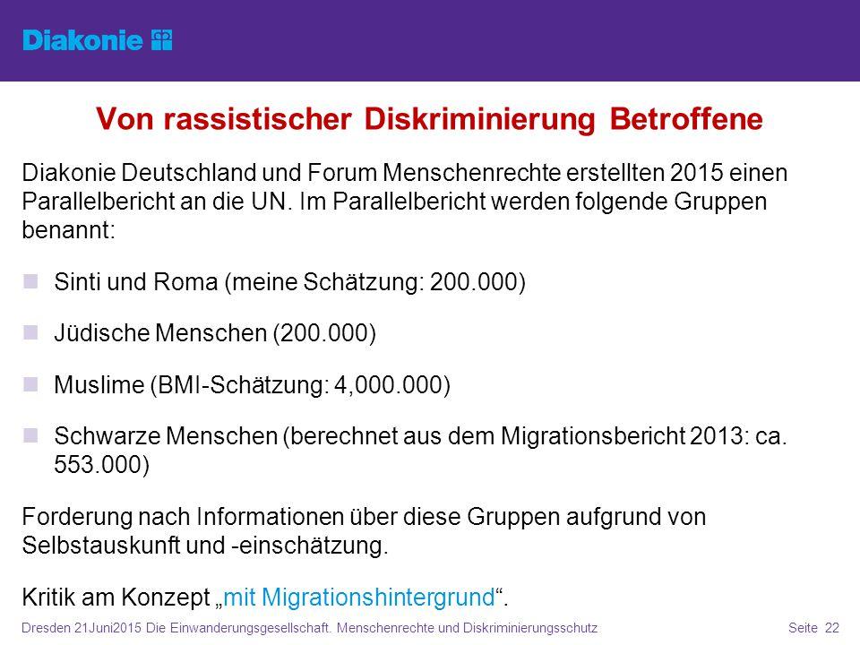 Von rassistischer Diskriminierung Betroffene Diakonie Deutschland und Forum Menschenrechte erstellten 2015 einen Parallelbericht an die UN. Im Paralle