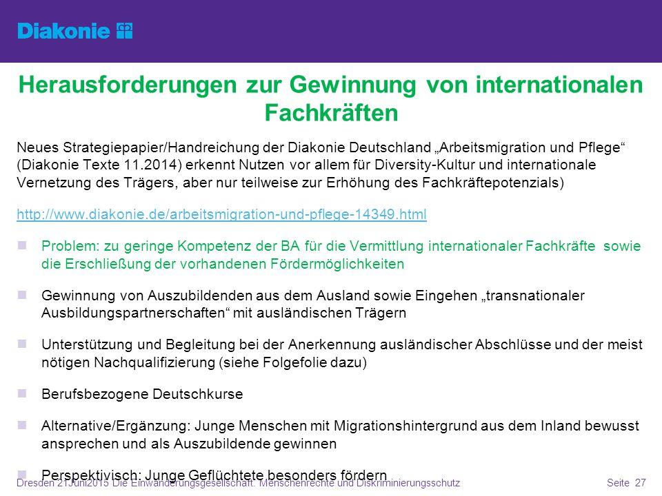Dresden 21Juni2015 Die Einwanderungsgesellschaft. Menschenrechte und DiskriminierungsschutzSeite 27 Herausforderungen zur Gewinnung von internationale