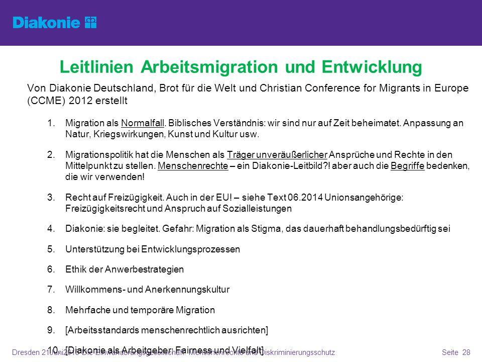 Dresden 21Juni2015 Die Einwanderungsgesellschaft. Menschenrechte und DiskriminierungsschutzSeite 28 Leitlinien Arbeitsmigration und Entwicklung Von Di