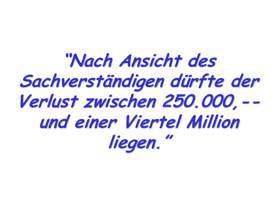 """""""Nach Ansicht des Sachverständigen dürfte der Verlust zwischen 250.000,-- und einer Viertel Million liegen."""""""