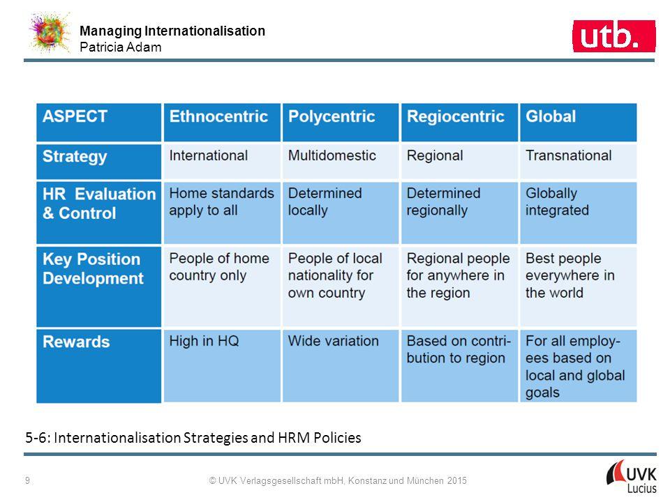 Managing Internationalisation Patricia Adam © UVK Verlagsgesellschaft mbH, Konstanz und München 2015 9 5 ‑ 6: Internationalisation Strategies and HRM
