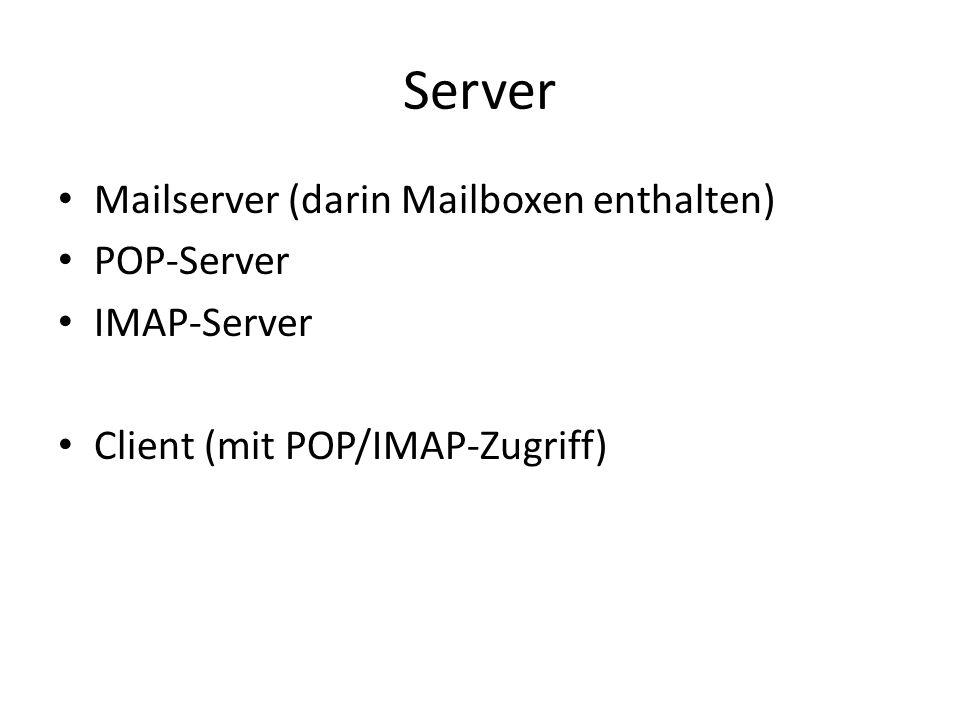 Server Mailserver (darin Mailboxen enthalten) POP-Server IMAP-Server Client (mit POP/IMAP-Zugriff)