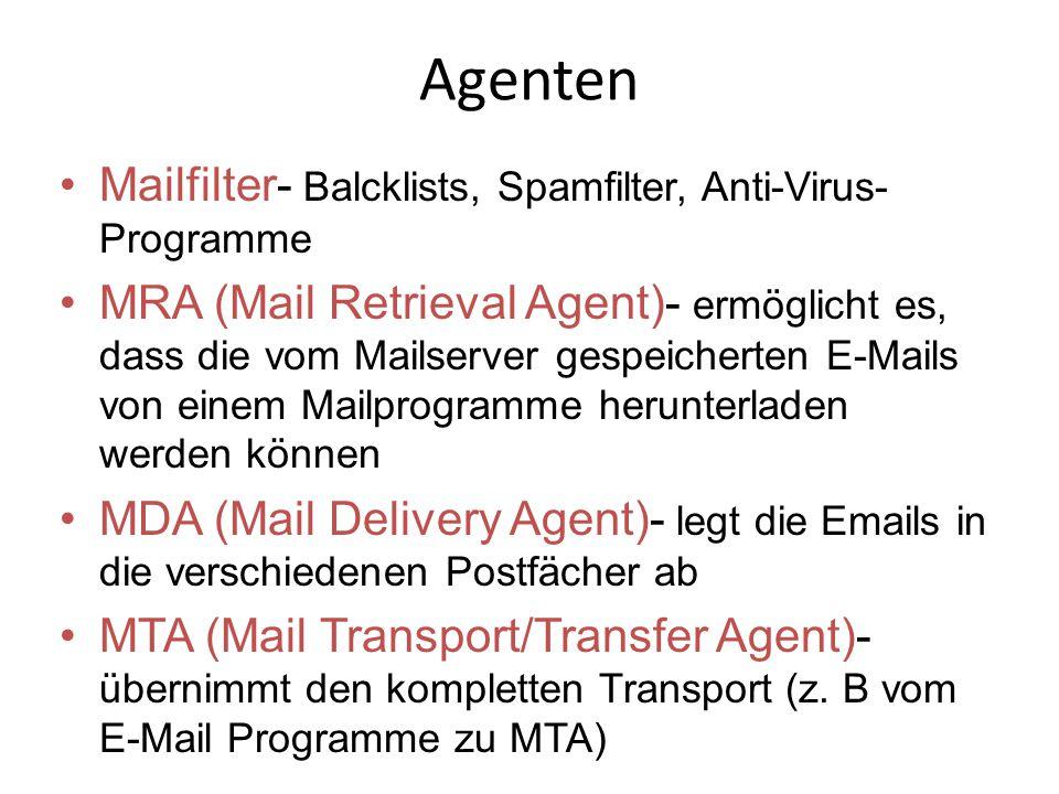 Agenten Mailfilter- Balcklists, Spamfilter, Anti-Virus- Programme MRA (Mail Retrieval Agent)- ermöglicht es, dass die vom Mailserver gespeicherten E-Mails von einem Mailprogramme herunterladen werden können MDA (Mail Delivery Agent)- legt die Emails in die verschiedenen Postfächer ab MTA (Mail Transport/Transfer Agent)- übernimmt den kompletten Transport (z.