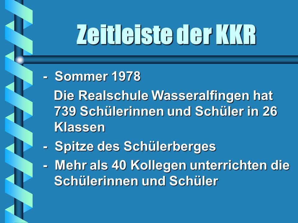 Zeitleiste der KKR - Sommer 1978 Die Realschule Wasseralfingen hat 739 Schülerinnen und Schüler in 26 Klassen Die Realschule Wasseralfingen hat 739 Schülerinnen und Schüler in 26 Klassen - Spitze des Schülerberges - Mehr als 40 Kollegen unterrichten die Schülerinnen und Schüler