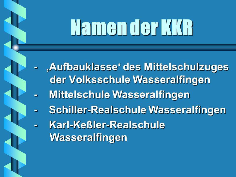 Namen der KKR - 'Aufbauklasse' des Mittelschulzuges der Volksschule Wasseralfingen - Mittelschule Wasseralfingen - Schiller-Realschule Wasseralfingen - Karl-Keßler-Realschule Wasseralfingen