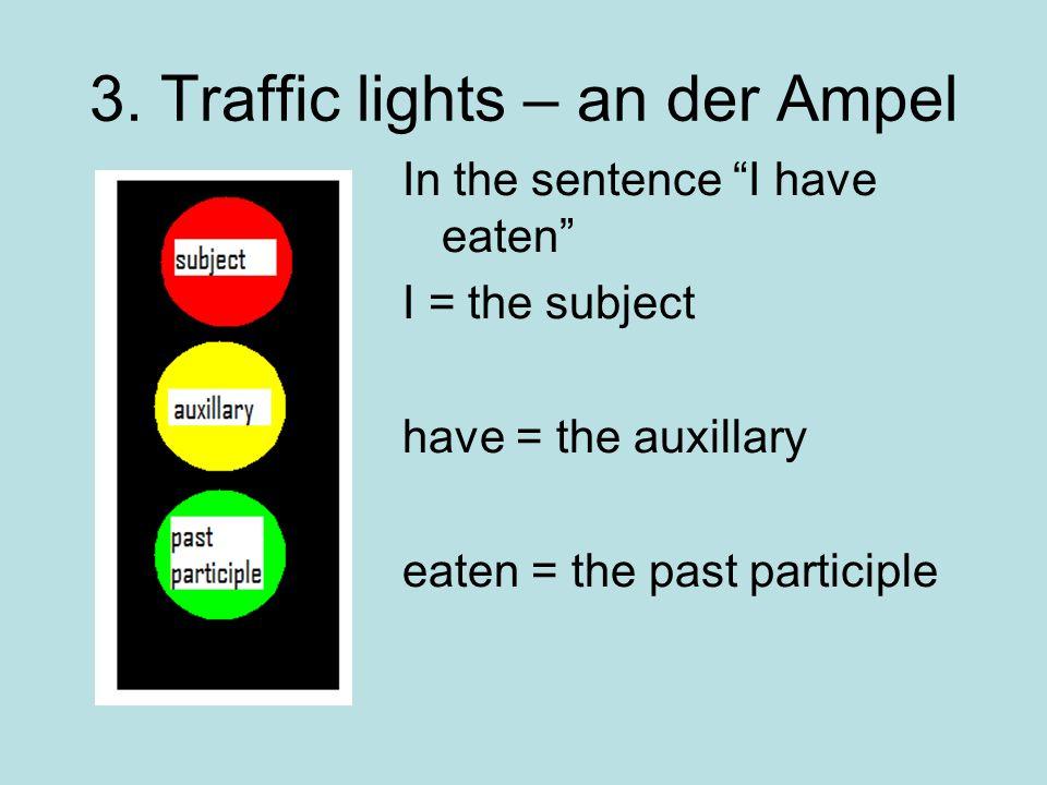 2. Auf Deutsch…? In German, we need the same three parts, but in German, the order is slightly different. Ihaveeaten drunk banana tea Ihavebanana tea