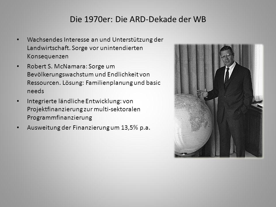 Die 1970er: Die ARD-Dekade der WB Wachsendes Interesse an und Unterstützung der Landwirtschaft. Sorge vor unintendierten Konsequenzen Robert S. McNama