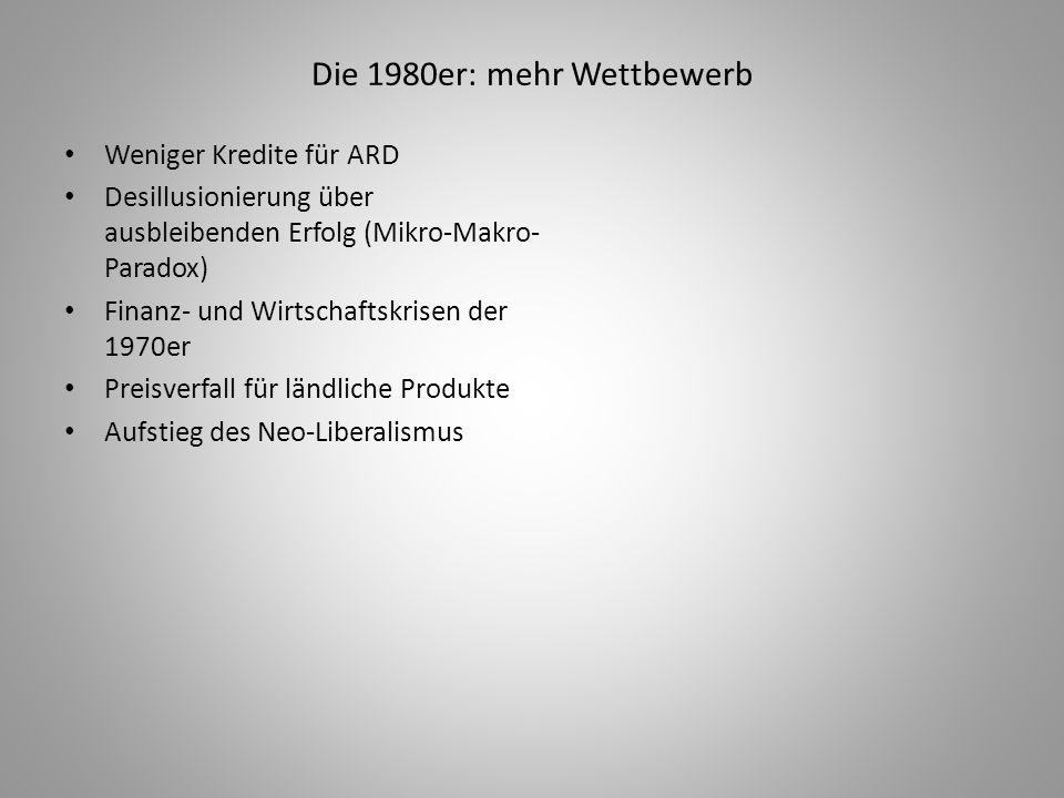 Die 1980er: mehr Wettbewerb Weniger Kredite für ARD Desillusionierung über ausbleibenden Erfolg (Mikro-Makro- Paradox) Finanz- und Wirtschaftskrisen d