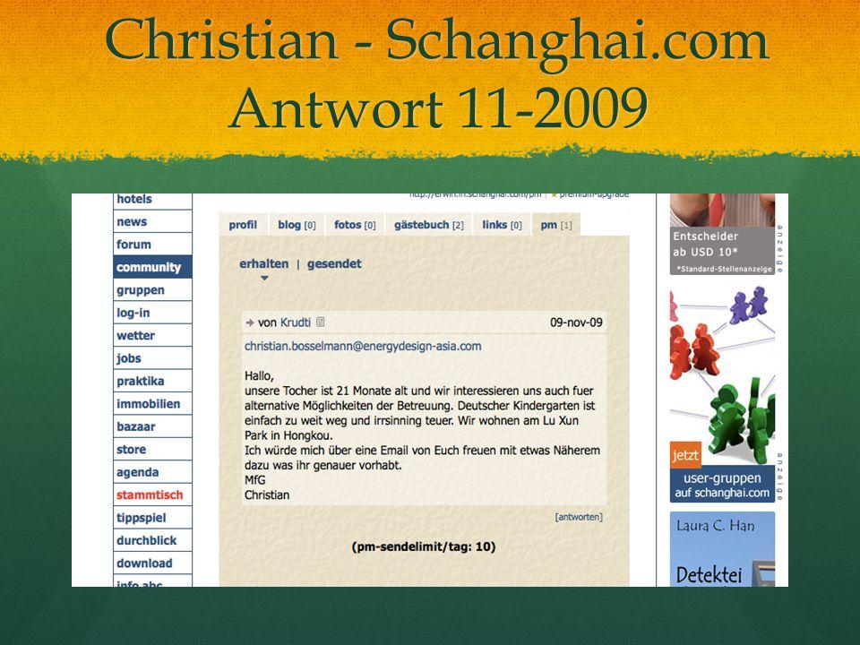 Christian - Schanghai.com Antwort 11-2009