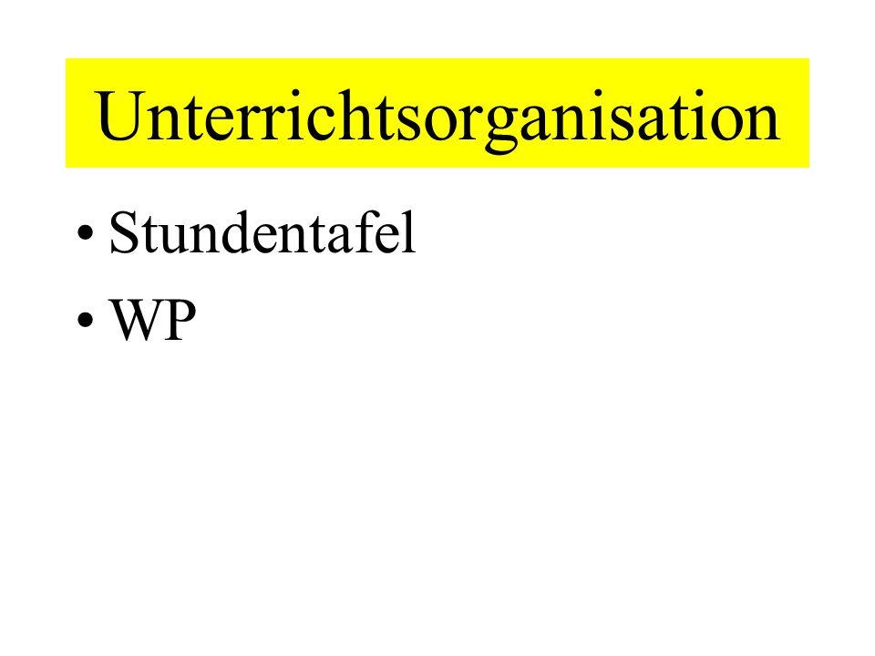 Unterrichtsorganisation Stundentafel WP