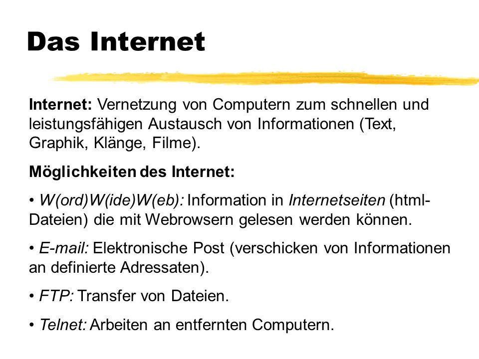 Das Internet Internet: Vernetzung von Computern zum schnellen und leistungsfähigen Austausch von Informationen (Text, Graphik, Klänge, Filme). Möglich