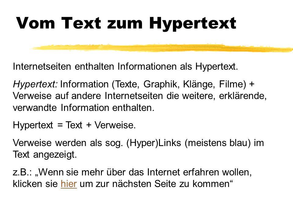 Vom Text zum Hypertext Internetseiten enthalten Informationen als Hypertext. Hypertext: Information (Texte, Graphik, Klänge, Filme) + Verweise auf and