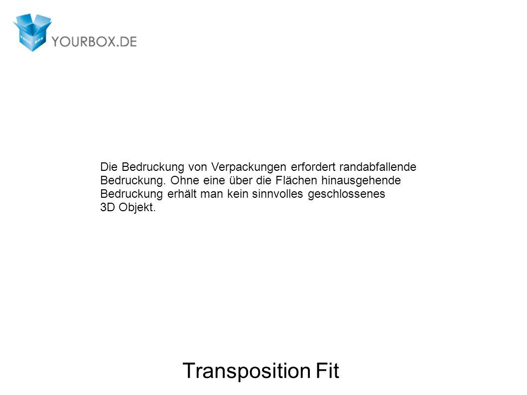 Transposition Fit Die Bedruckung von Verpackungen erfordert randabfallende Bedruckung.