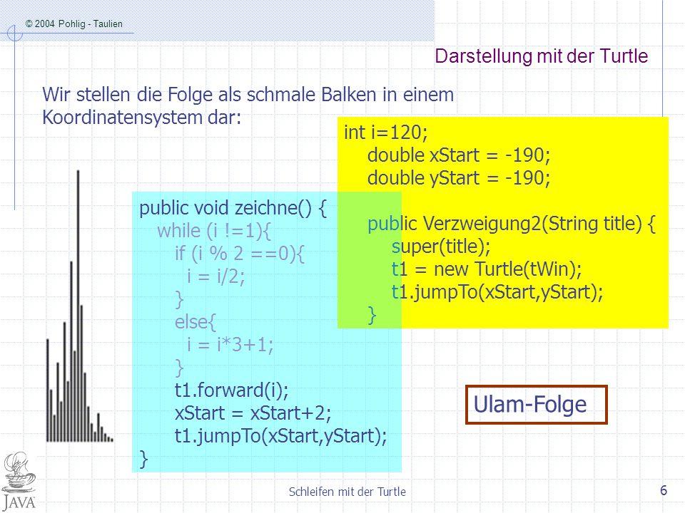 © 2004 Pohlig - Taulien Schleifen mit der Turtle 6 Darstellung mit der Turtle Wir stellen die Folge als schmale Balken in einem Koordinatensystem dar: