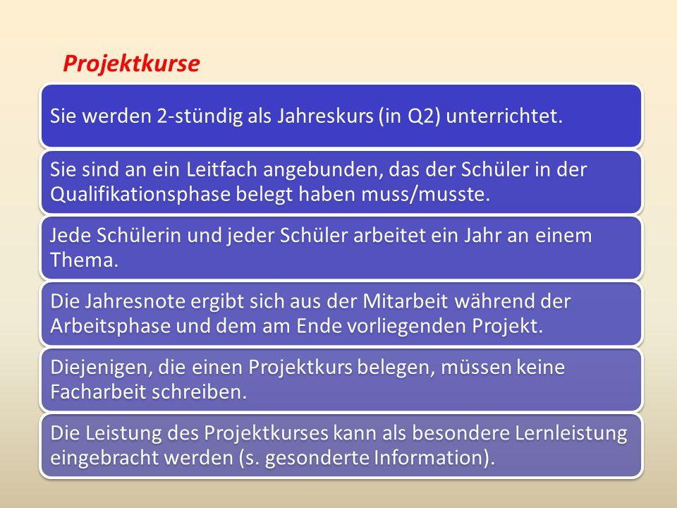 Projektkurse In folgenden Fächern werden Projektkurse angeboten: Deutsch Biologie Physik MathematikKunst