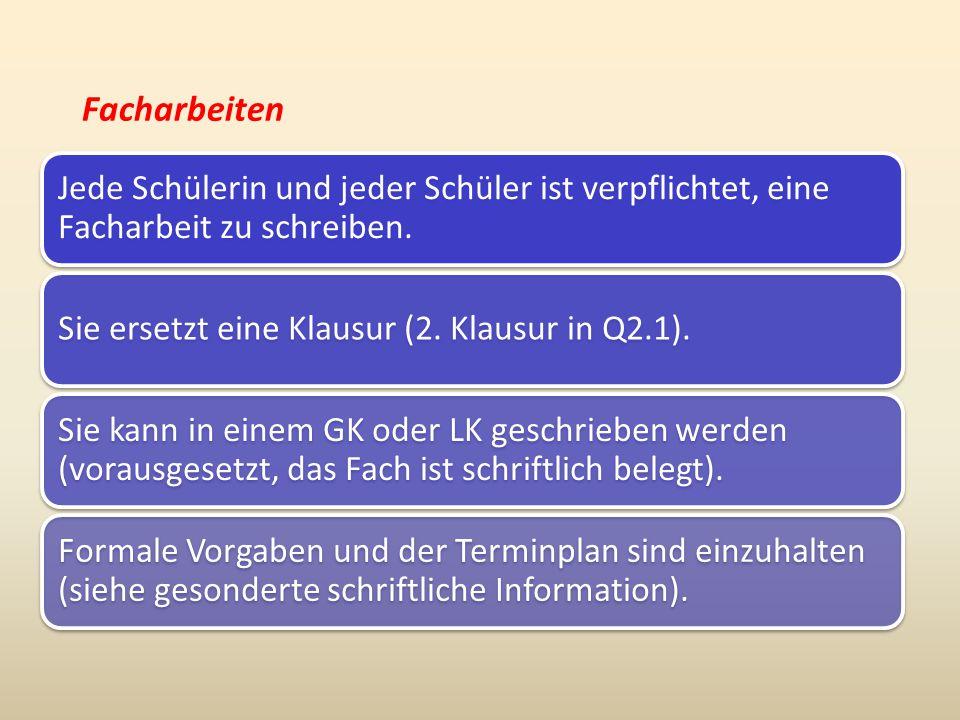 Facharbeiten Zeitrahmen für die Facharbeit: Vorbereitung der Facharbeit in allen Deutschkursen entweder zum Ende des Schuljahres 2014/15 oder zu Beginn des Schuljahres 2015/16.