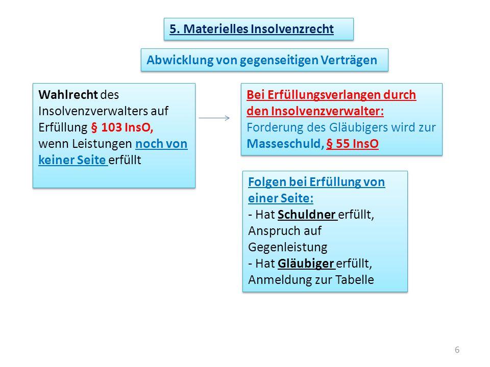 6 5. Materielles Insolvenzrecht Abwicklung von gegenseitigen Verträgen Wahlrecht des Insolvenzverwalters auf Erfüllung § 103 InsO, wenn Leistungen noc