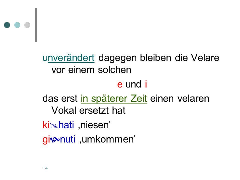 14 unverändert dagegen bleiben die Velare vor einem solchen e und i das erst in späterer Zeit einen velaren Vokal ersetzt hat ki  hati,niesen' gi  nuti,umkommen'