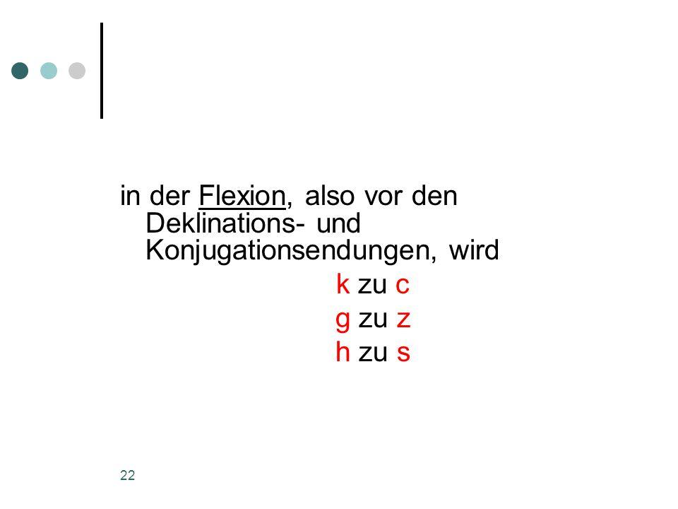 22 in der Flexion, also vor den Deklinations- und Konjugationsendungen, wird k zu c g zu z h zu s